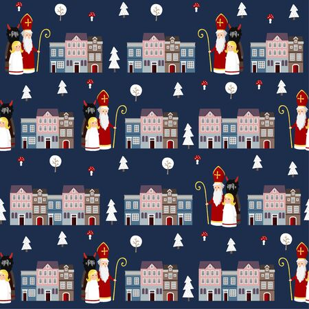 Cute winter seamless fabric pattern with St. Nicholas, angel, devil and town houses. Flat kids design. Vector illustration background, web banner.