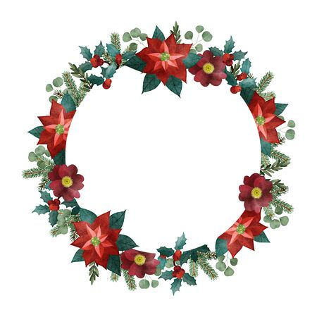 Vintage Christmas greeting card, invitation. Watercolor round frame, wreath. Fir tree, eucalyptus branches, poinsettia, wild rose flowers and holly berries. Isolated floral composition on white.