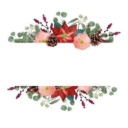 Vintage Christmas greeting card, invitation. Watercolor floral garland, frame. Fir tree and eucalyptus branches, poinsettia, wild roses, pinecones and berries isolated on white background. Web bannner