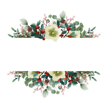 Vintage Christmas greeting card, invitation. Watercolor floral garland made of fir tree and eucalyptus branches, hellebores flowers, pine cones and holly berries isolated on white background. Banner. Stock Photo