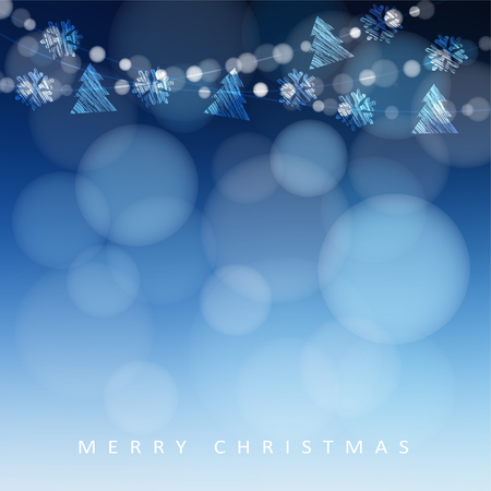 Merry Christmas greeting card, invitation with garland of lights, snowflakes and christmas trees, modern festive glittering blue blurred vector illustration background. Illusztráció