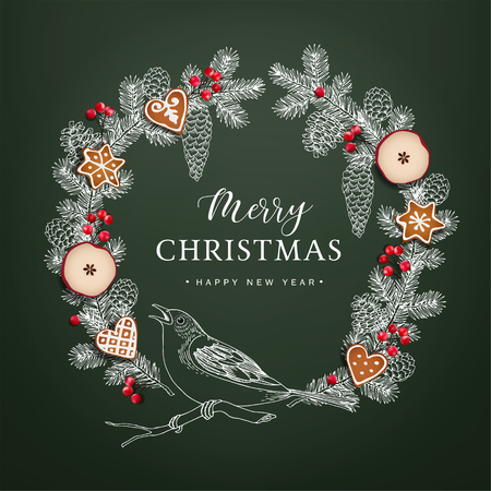 Bird on Christmas wreath made of hand drawn fir, spruce branches, pine cones, red berries, dried apple fruit and gingerbread cookies. Realistic vector object on green chalkboard background, vintage design.