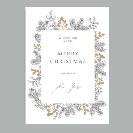 Merry Christmas, Happy New Year vintage floral greeting card, invitation. Holiday frame with evergreen fir tree branches, pine cones and holly berries. Elegant engraving illustration, winter design.