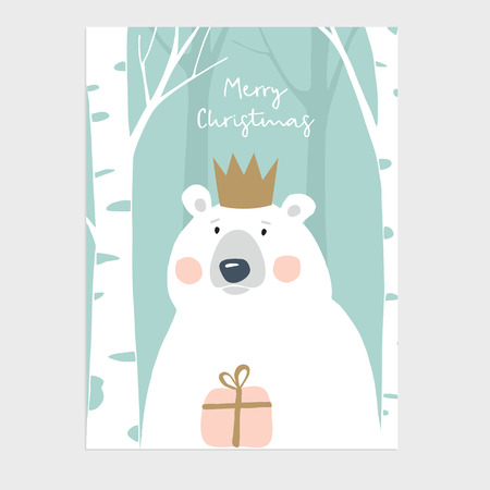 Cute Merry Christmas greeting card, invitation. Polar bear with crown holding gift box. Birch wood. Hand drawn kids nordic design, vector illustration background.