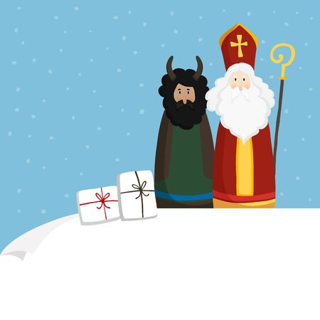Cute St. Nicholas with devil, gift boxes and falling snow. Christmas invitation, greeting card. Flat kids design. Vector illustration, web banner with blank paper. Winter background. Çizim