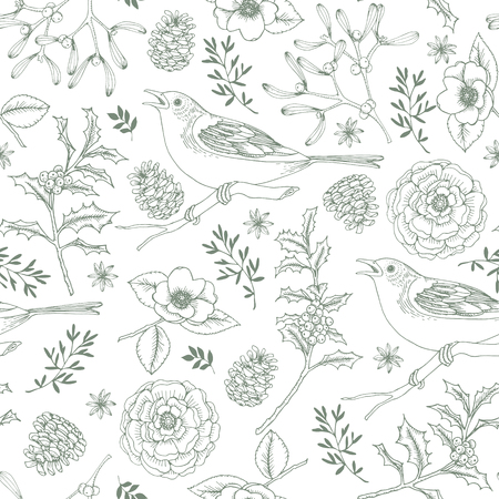 Elegant hand drawn Christmas seamless pattern with birds, holly berries, mistletoe, roses and pine cones. Winter vintage engraving design, vector illustration background.