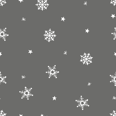 Simple grey festive seamless pattern with hand drawn white snowflakes. Christmas winter design with falling snow. Vector illustration background.