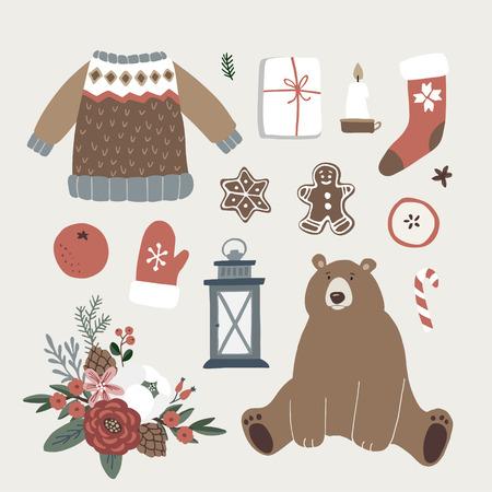 Set von niedlichen Weihnachtstier-, Lifestyle- und Lebensmittelsymbolen. Bär, Strickpullover, Glühbirnen, Weihnachtssocken, Geschenkboxen und Lebkuchen. Flaches Design der Weinlese, lokalisierte Vektorobjekte.