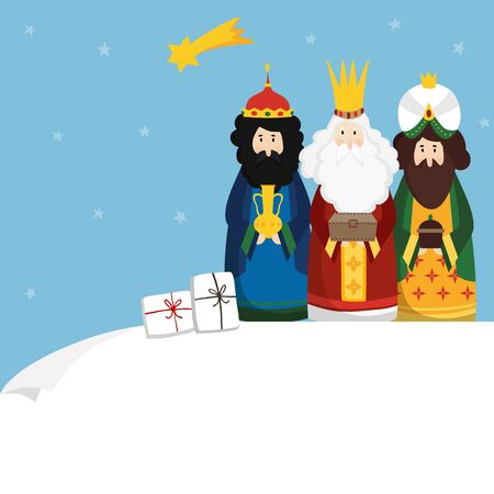 Christmas greeting card, invitation. Three magi bringing gifts and falling star. Biblical kings Caspar, Melchior, Balthazar and comet. Flat design, vector illustration background. Blank paper bannner. Banco de Imagens