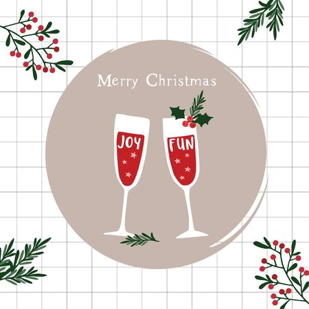 Merry Christmas, Happy New Year greeting card, invitation. Two champagne wine glasses. Fun and joy handletterd text and holly berries and fir branches. Winter celebration, party concept.