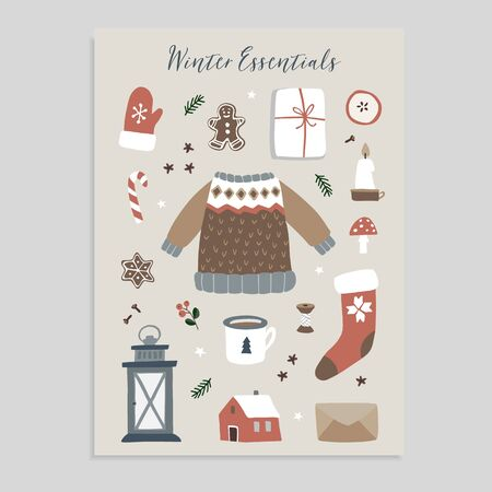 Winter essentials. Christmas greeting card. Set of cute winter lifestyle and food icons. Knitted sweater, glove, Santa socks, gift box and gingerbread cookies. Vintage flat design. Isolated vectors Stockfoto