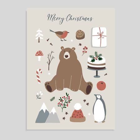 Merry Christmas greeting card, invitation. Set of cute Christmas animals and food icons. Bear, penguin, finch, knitted hat, cake, holly berries and gift box. Vintage flat design. Isolated vectors