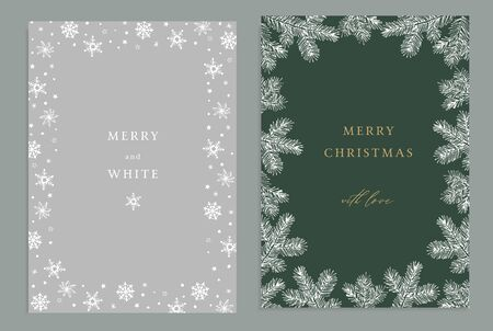 Merry Christmas, Happy New Year decorative vintage greeting cards, invitations. Holiday frames of hand drawn fir tree branches and snowflakes. Elegant engraving illustration, winter design. Stock fotó