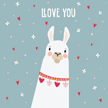 Cute birthday or Valentines day greeting card, invitation. Hand drawn white llama animal with falling flowers and hearts confetti, vector illustration background.