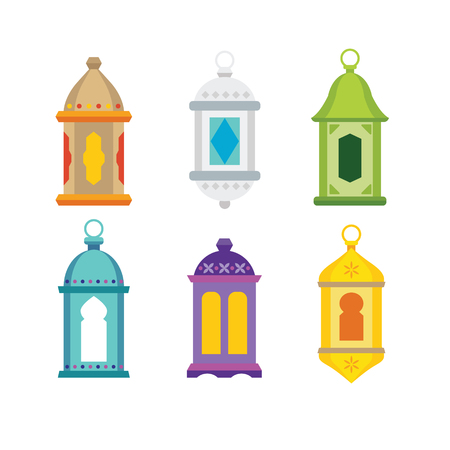 Set of arabic lanterns. Colorful decorative Ramadan lamps icons. Isolated stock vector objects. Flat design.