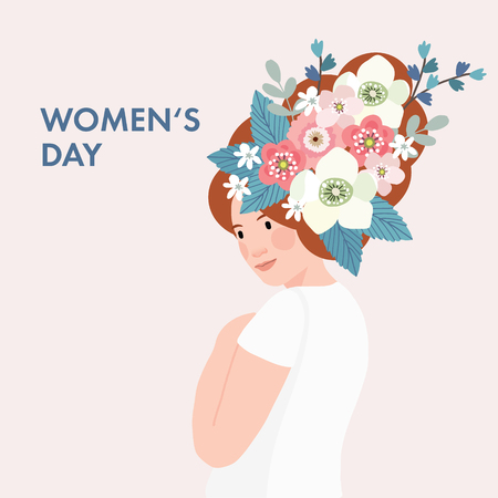 8th March, International Womens Day greeting card, invitation. Beautiful woman with long hair decorated by flowers and leaves. Vector illustration background, web banner. Fat design.