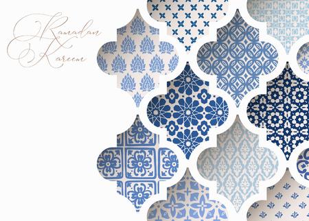 Primo piano delle mattonelle arabe ornamentali blu, modelli attraverso la finestra bianca della moschea. Biglietto di auguri, invito per la festa musulmana Ramadan Kareem. Bacground di illustrazione vettoriale, banner web, design moderno. Vettoriali