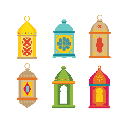 Set of arabic lanterns. Colorful decorative Ramadan lamps icons. Collection of isolated stock vector objects. Flat design.