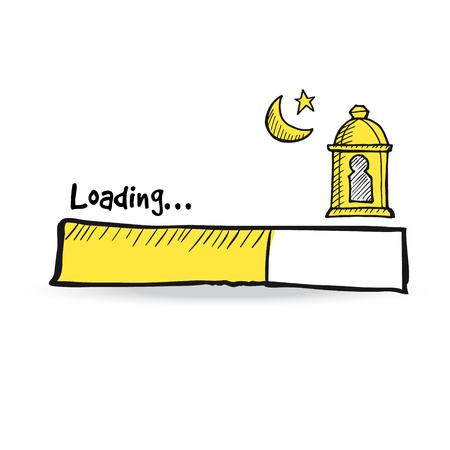 Caricamento barra di stato con lanterna araba, luna e stella. Illustrazione vettoriale doodle disegno per il mese sacro Ramadan Kareem.