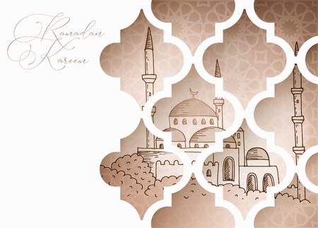 贺卡,穆斯林斋月请柬。通过装饰阿拉伯窗口的手拉的清真寺。线艺术设计。传染媒介例证背景,装饰样式。