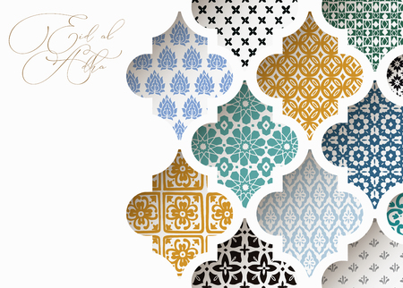 Muslim holiday Eid al Adha greeting card. Close-up of colorful ornamental arabic tiles, patterns through white mosque window. Ramadan invitation. Vector arabesque illustration bacground, modern design. Ilustração