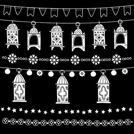 Set of doodle garlands, frames with arabic ornaments, bunting flags, stars and hand drawn lanterns. Party decoration. Isolated vector chalk elements, borders on blackboard, Ramadan Kareem design.
