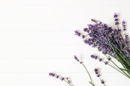 Bouquet of lavender flowers on white wooden table background. Decorative floral frame, web banner with Lavandula officinalis. French summer design, aromatherapy concept. Healthy fragrant herbs.