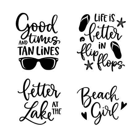 Summer lettering set. Black hand lettered quotes with shealls, flip flops and sunglasses. For greeting cards, t-shirts. Typography collection. Vacation, beach and sea concept. Isolated vectors.
