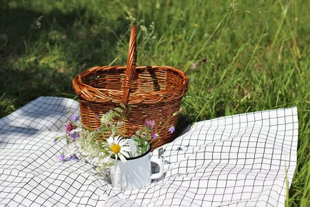 Wicker picnic basket on checkered blanket in sunny day. Enamel mug with wild fowers, bells, cow parsley and daisies. Blurred meadow background. Spring, summer outdoor meal, relaxation concept. Stock fotó