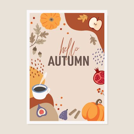 Cute autumn greeting card invitation. Pumpkins, cinnamon, colorful fall leaves, apple, figs and coffee on abstract textured background. Freehand drawing for posters, web banners, flat design.
