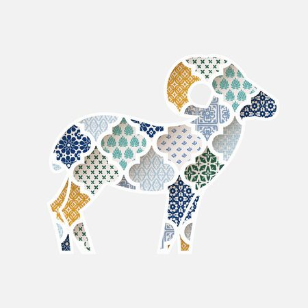 Greeting card, invitation with silhouette of ornamental sheep. Colorful Moroccan, arab pattern tiles fill. Eid al Adha holiday, muslim community festival of sacrifice, vector illustration background.