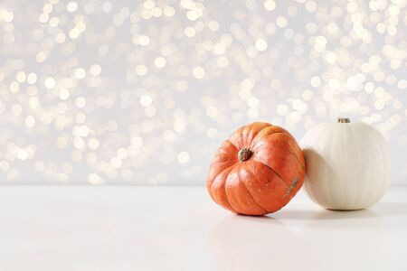 Modern autumn styled composition. White and orange pumkins on white table background. Halloween, Thanksgiving party concept. Festive fall design with golden sparkling bokeh lights. Empty space. Stok Fotoğraf