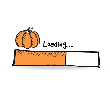 Loading bar with orange pumpkin, squash. Autumn, fall concept. UI icon for Thanksgiving and Halloween holiday. Vector illustration sketch.