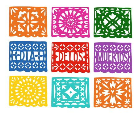 Set of handmade colorful paper cut party bunting flags for Dia de los Muertos, Mexican Day of the Dead holiday. Halloween concept. Isolated vector illustrations, craft objects. Illusztráció
