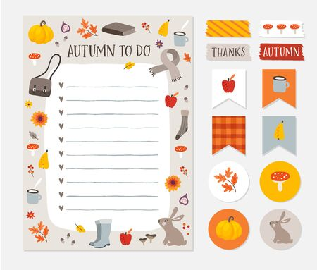 Autumn, fall wish, to do list. Colorful scrapbooking stickers, labels, tapes and gift tags. Cute stationery, planner template set. Trendy Thanksgiving holiday concept. Isolated vector objects. 向量圖像