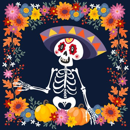 Dia de Los Muertos greeting card, invitation. Mexican Day of the Dead. Ornamental skull, skeleton with sombrero hat, pumpkins and flowers. Hand drawn vector illustration, background, floral frame. Vetores