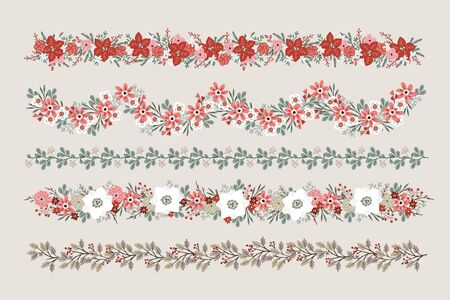 Set of Christmas floral borders, strings, garlands or brushes. Party decoration with fir, oak and eucalyptus tree branches, poinsettia, roses, narcissus flowers and holly berries, isolated vectors.