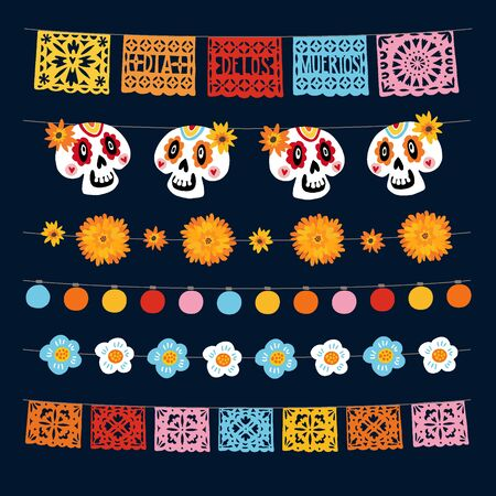 Set of Dia de los Muertos, Mexican Day of the Dead garlands with lights, bunting flags, papel picado, marigold and ornamental skulls. Collection of Halloween garden party decorations, isolated vectors