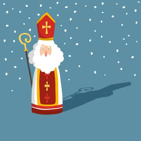Cute Christmas greeting card with Saint Nicholas with falling snow, drop shadow and pastoral staff. European winter tradition. Hand-lettered text. Flat cartoon design. Vector illustration.