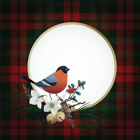 Vintage Christmas greeting card, invitation. Bullfinch bird sitting on golden frame. Floral garland of pine tree branches, cranberries, flowers and jingle bells. Tartan checkered plaid background. 向量圖像