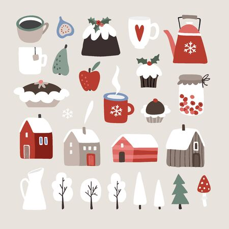 Set of cute winter, Christmas food, drink and landscape icons. Cup of coffee, fruit, Christmas pudding, desserts, cupcakes, houses nad snowy trees. Vintage flat design. Isolated vector objects.