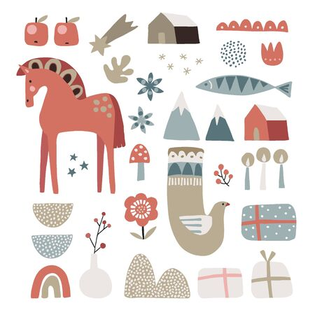 Set of Christmas Scandinavian animals and natural elements. Dala horse, dove bird, fish, gift boxes, flowers, candles and berries. Nordic retro flat design. Isolated vector illustration objects. Ilustração