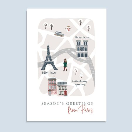 Cute Christmas greeting card, invitation with map of Paris. Hand drawn French streets, houses, Notre Dam cathedral and Eiffel tower. Winter design with warm dressed girl.Vector illustration background Illustration