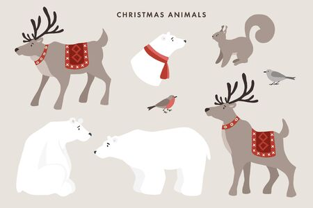 Set of wild winter animals. Cute polar bears, reindeers, squirrel and finch birds. Christmas nordic design for greeting cards. Vector cartoon illustrations. Isolated nature graphic objects.