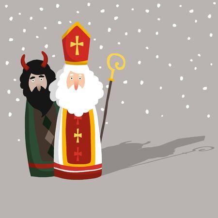 Cute hand drawn Saint Nicholas with devil greeting card, invitation. Winter season background with falling snow. Flat design, vector illustration. European tradition.