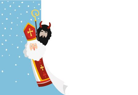 Cute hand drawn Saint Nicholas with devil and blank paper sheet, greeting card. Winter background, web banner with falling snow and copy space. Flat design, vector illustration. European tradition.