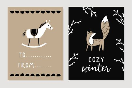 Set of Christmas Scandinavian greeting cards, invitations. Cute wooden horse toy and fox with bare tree branches. Nordic kids design. Winter vector illustration background.s, posters. Gift labels.