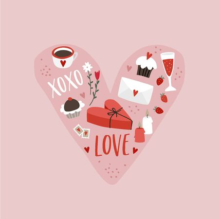 Valentines day or wedding greeting card, party invitation. Heart made of hand drawn wine glasses, letters, gift boxes and sweet food. Love, XOXO text. Festive icons, isolated vector illustrations.
