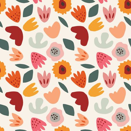 Abstract floral seamless pattern. Hand drawn colorful flowers, plants, leaves. Botany spring, summer set. Modern cut out design. Flat style isolated floral elements. Vector illustration background.