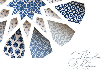 Close-up of blue ornamental Morroccan tiles through white arab star shape pattern. Greeting card, invitation for Muslim holiday Ramadan Kareem. Vector illustration bacground, web banner, modern design.